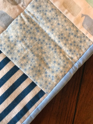 RoseThreads baby quilt handmade flannel squares minky cotton batting full binding cotton soft warm made in us ready to ship ships fast fast shipping