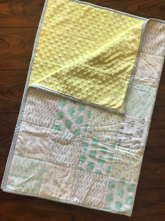 RoseThreads baby quilt handmade flannel squares minky cotton batting full binding cotton soft warm made in us ready to ship ships fast fast shipping baby elephants yellow green baby boy baby girl