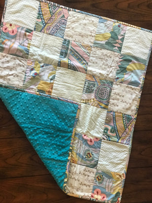 RoseThreads baby quilt handmade flannel squares minky cotton batting full binding cotton soft warm made in us ready to ship ships fast fast shipping baby jungle animals teal baby boy baby girl