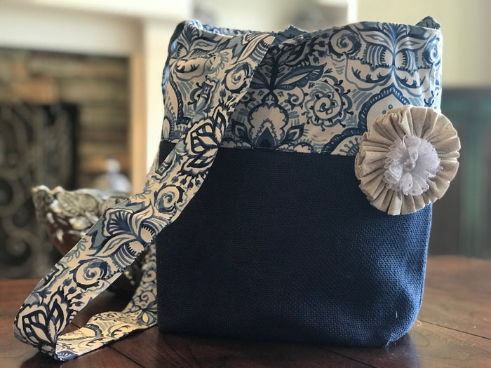 Blue Watercolor Crossbody Burlap Purse
