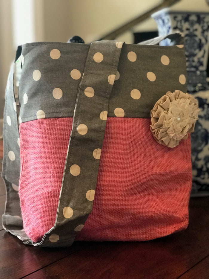 Grey Polka Dot Crossbody Burlap Purse