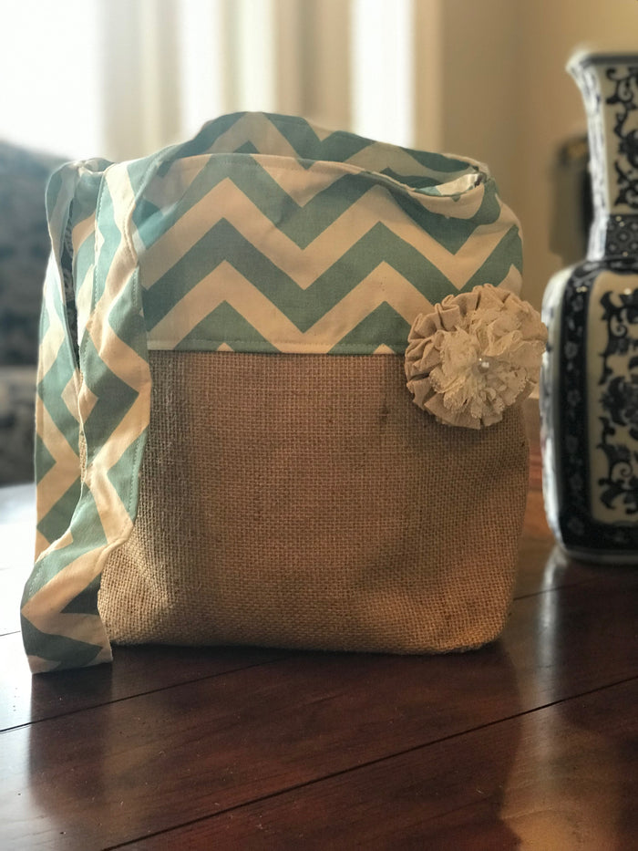 Blue Chevron Crossbody Burlap Purse