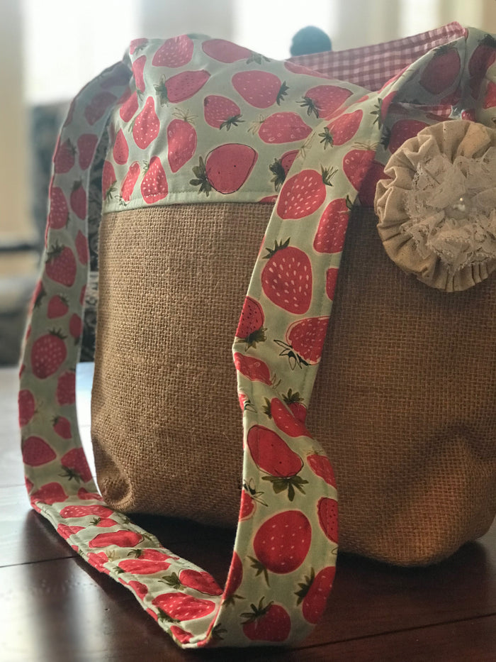 Strawberry Crossbody Burlap Purse