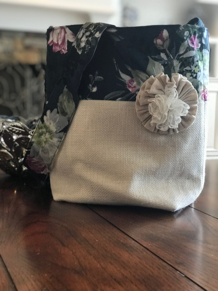 Inky Floral Crossbody Burlap Purse