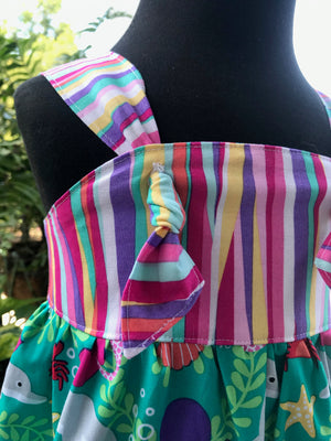 knot-tied romper mermaid ruffled legs bright summery colors bubble romper infant toddler little girls summer teal pink purple stripes beach sea ocean nautical