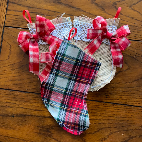 Red and Green Flannel Burlap mittens and stockings