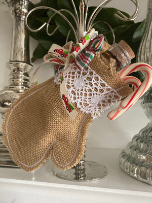 Burlap mittens and stockings