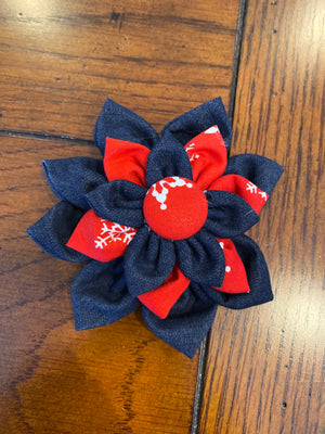 Red with Snowflakes Hairbow