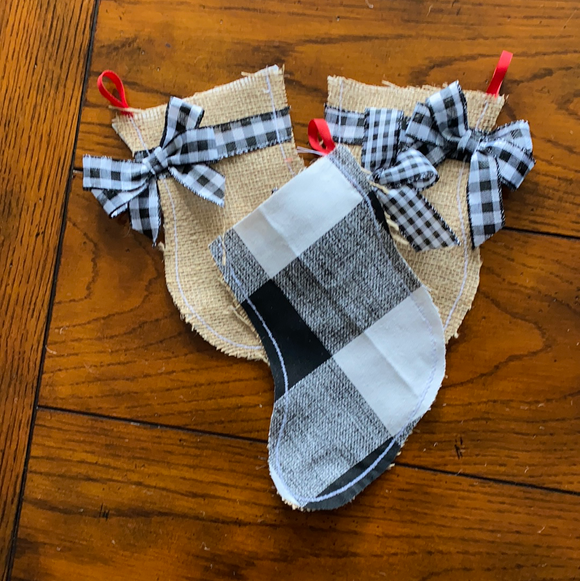 Black and White Buffalo Check Burlap mittens and stockings