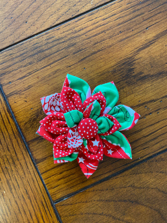 Christmas Green and Red Ornaments Hairbow