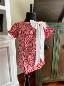 Emma Christmas Damask in Red and White