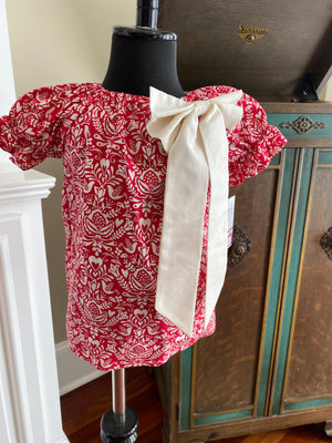Emma Peasant in Red and Cream Damask