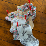 Cream and Grey Christmas print Burlap mittens and stockings