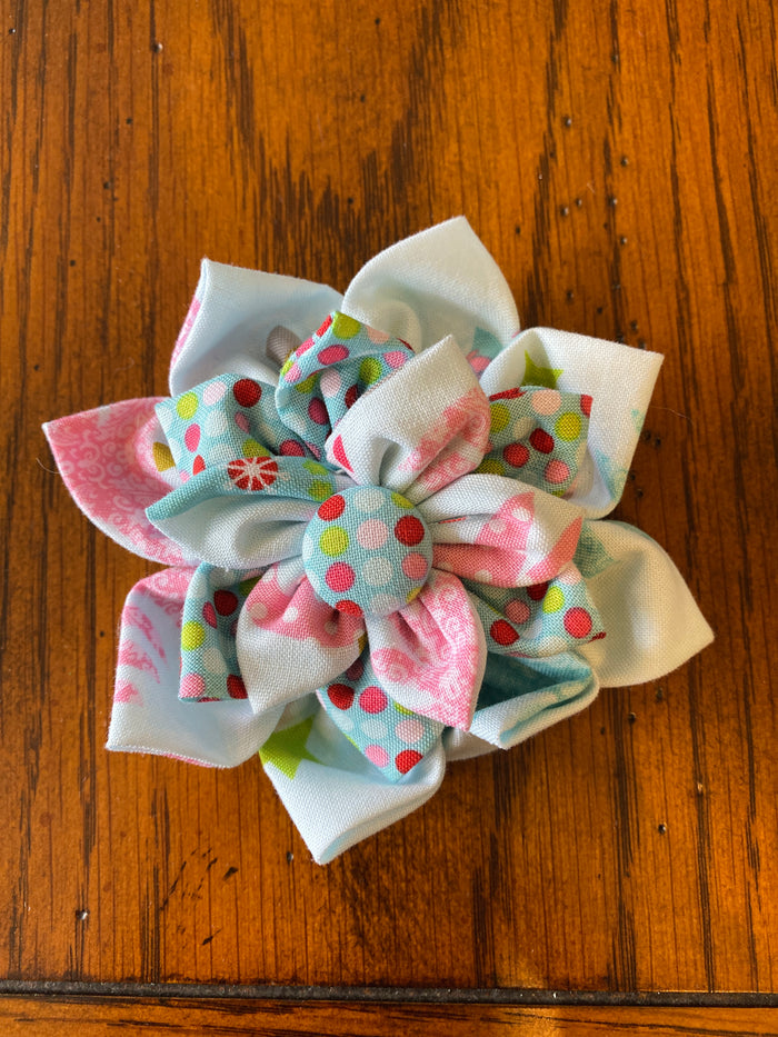 Light Blue Christmas Trees Hairbow