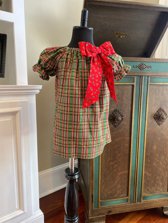 Emma Christmas Green Plaid Peasant Dress