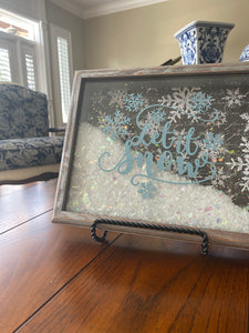 Let it Snow Blue on Silver Shadowbox