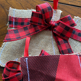 Red Buffalo Check Burlap mittens and stockings