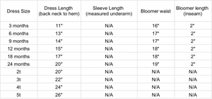 Rosethreads pillowcase dress measurements