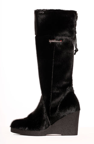 SEAL BOOT WEDGE HIGH HEEL BLACK  BOOT - FLEECE LINING
