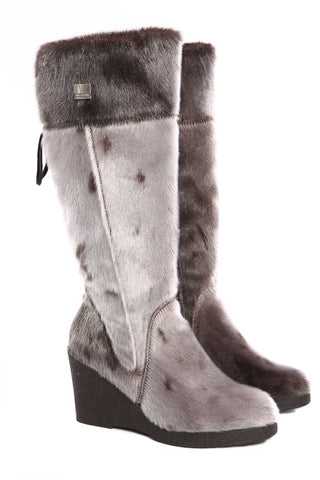 "SEAL BOOT 18"" CALF LOW WEDGE  - SHEEP WOOL LINING"