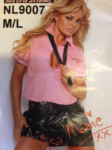 NL9007 Sexy 3 Piece PVC School Girl Uniform Fantasy Costume-Costume-Miss Hollywood-S/M-Black/Pink-Miss Hollywood Sexy Shoes