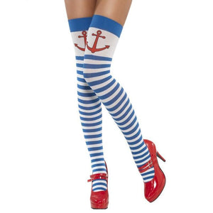 SM42705 Smiffys Striped Anchor Sailor Thigh Highs Hold ups - Miss Hollywood