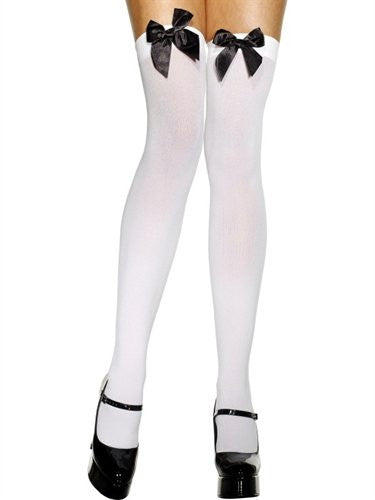 FV42760 Fever Opaque Black Bow Thigh Highs Hold ups-Stockings-Fever-One Size-Miss Hollywood Sexy Shoes
