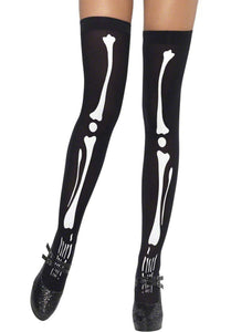 SM42788 Smiffys Sexy Skeleton Opaque Bones Thigh Highs-Stockings-Smiffys-One Size-Miss Hollywood Sexy Shoes