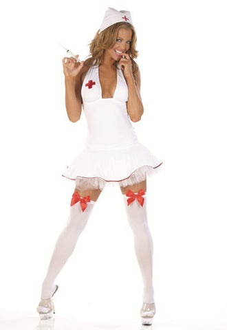 N4134 Sexy Nom De Plume Nurse Pole Dancing Mini Dress - Miss Hollywood