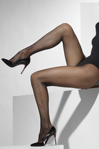 FV42794 Smiffys Black Fishnet Tights-Stockings-Smiffys-One Size-Miss Hollywood Sexy Shoes