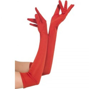 SM44038 Red Jersey Gloves-Costume-Smiffys-Red-One Size-Miss Hollywood Sexy Shoes