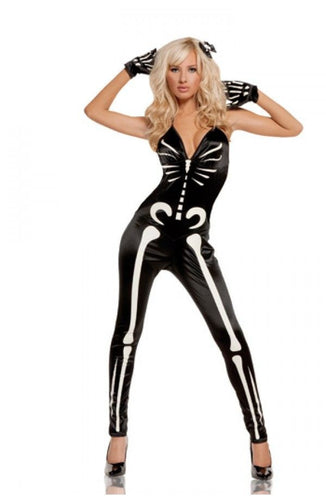 Sexy Tight Catsuit Glow in the Dark Skeleton Bones Halloween Style-Catsuit-Miss Hollywood-Small-Miss Hollywood Sexy Shoes