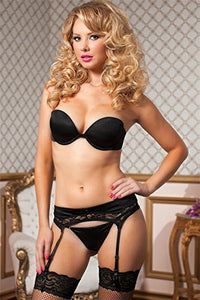 STM9758X Sexy Garter Belt-Stockings-Seven Til Midnight-Black-1X/2X-Miss Hollywood Sexy Shoes