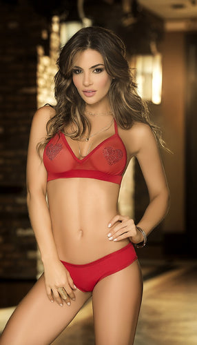 ES8186 Valentines Heart Two Piece Lingerie Set