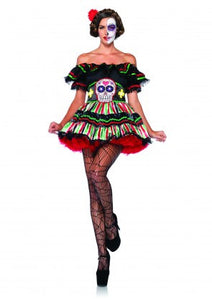 LA85293 Sexy Leg Avenue Day of the Dead Doll Fancy Dress Costume - Miss Hollywood - 1
