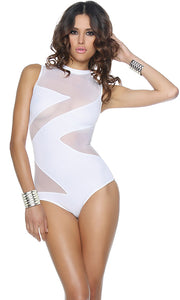 FP444506 Sexy White Forplay Crystal Cove Zig Zag Illusion Monokini-Mini Dress-Forplay-White-Small-Miss Hollywood Sexy Shoes Pleaser Shoes