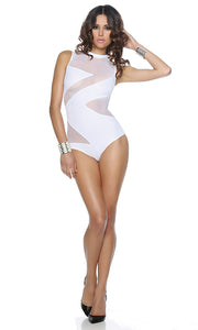 FP444506 Sexy White Forplay Crystal Cove Zig Zag Illusion Monokini-Mini Dress-Forplay-White-Small-Miss Hollywood Sexy Shoes