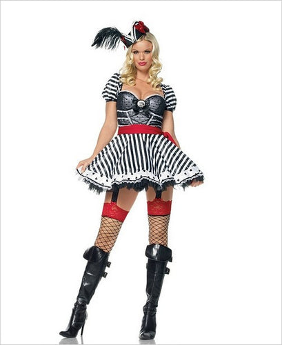 LA83378 Sexy Treasure Chest Pirate Wench Fancy Dress Costume - Miss Hollywood - 1