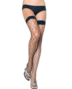 LA9014 Sexy Fence Net Thigh High-Stockings-Leg avenue-Black/Black-Miss Hollywood Sexy Shoes