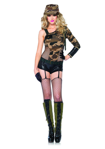 LA85186 Sexy Leg Avenue CAMO DOLL Army Fancy Dress Costume - Miss Hollywood