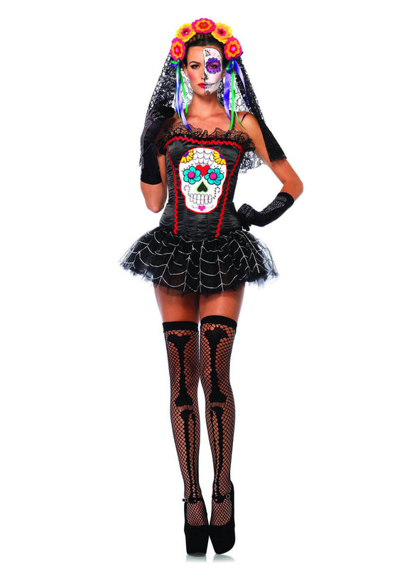 LA85347 Sexy Leg Avenue Sugar Skull Bustier Corset Fancy Dress Costume - Miss Hollywood