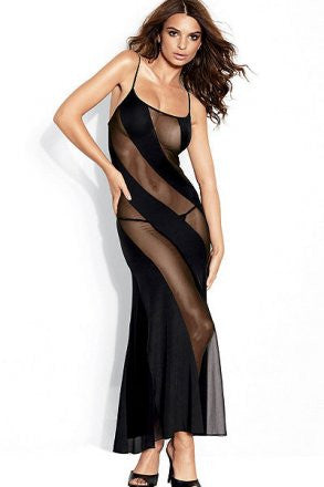 NL6125 Sexy Long Dress with Mesh Panels