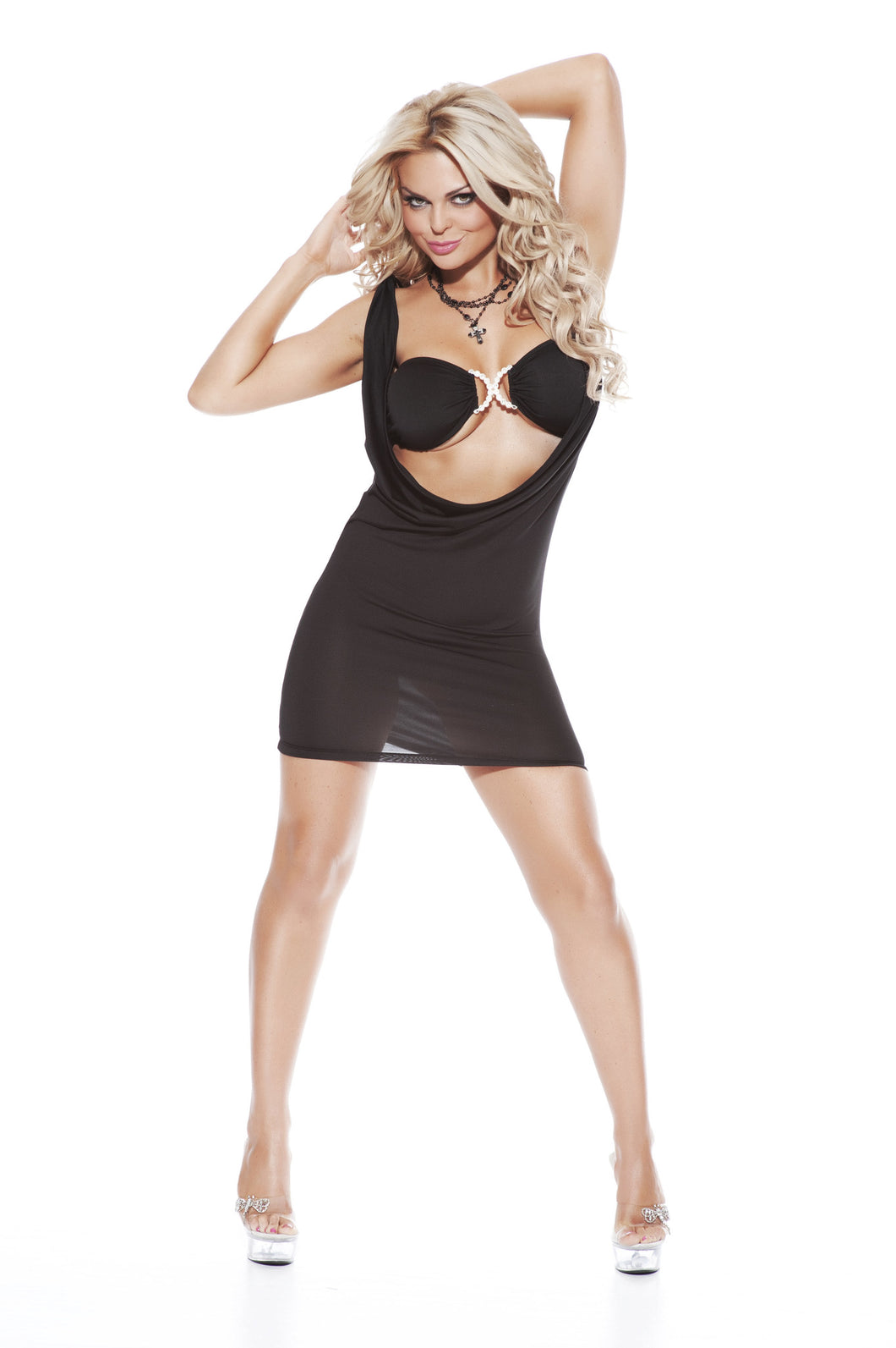 Sexy Cowl Neck Mini Dress and Bra Top-Costume-Miss Hollywood-Black-One Size-Miss Hollywood Sexy Shoes