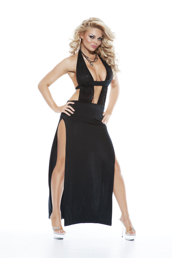NLA21 Sexy Long Pole Dancing Dress with Side Splits - Miss Hollywood - 1