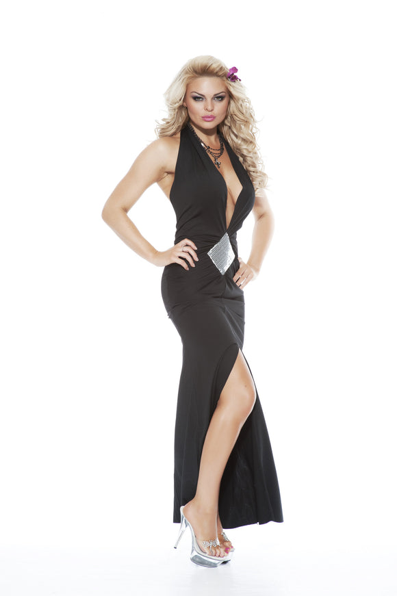 NLA26 Sexy Long Dress Front Split and Sequin Detail and Front Split - Miss Hollywood - 1
