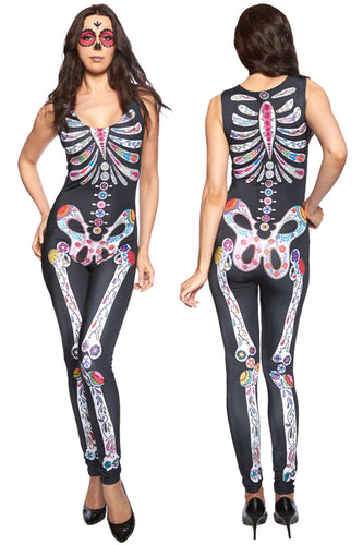 BM017 Sexy Tight Catsuit with Sugar Skull Skeleton Bones Halloween Style-Catsuit-Miss Hollywood-Small-Miss Hollywood Sexy Shoes