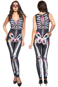 Sexy Tight Catsuit with Sugar Skull Skeleton Bones Halloween Style - Miss Hollywood