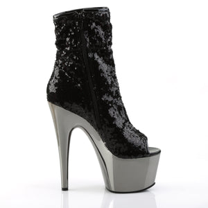 "ADORE-1008SQ 7"" Black Sequin Pole Dance Platform Ankle Boots-Pleaser-Miss Hollywood Sexy Shoes"