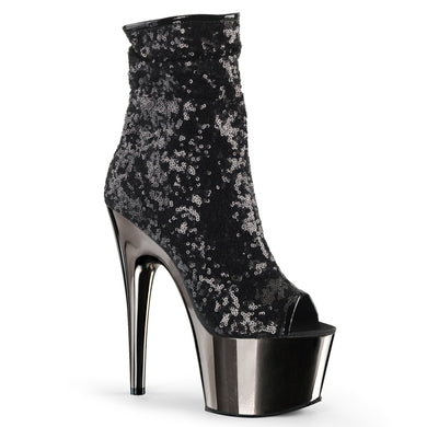 ADORE-1008SQ Pleaser Sexy Peep Toe Sequin Chrome Ankle Boots with 7 Inch Heel - Strippers Shoes UK