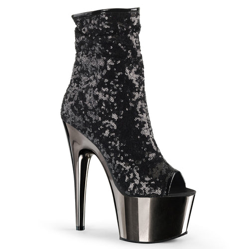 ADORE-1008SQ Pleaser Sexy Peep Toe Sequin Chrome Ankle Boots with 7 Inch Heel - Sexy Shoes - 3